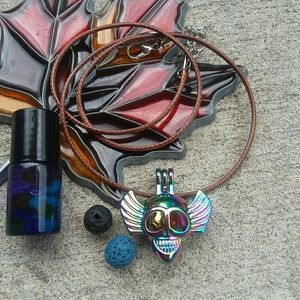 Jewelry - Rainbow 💀 w/wings essential oil diffuser necklace
